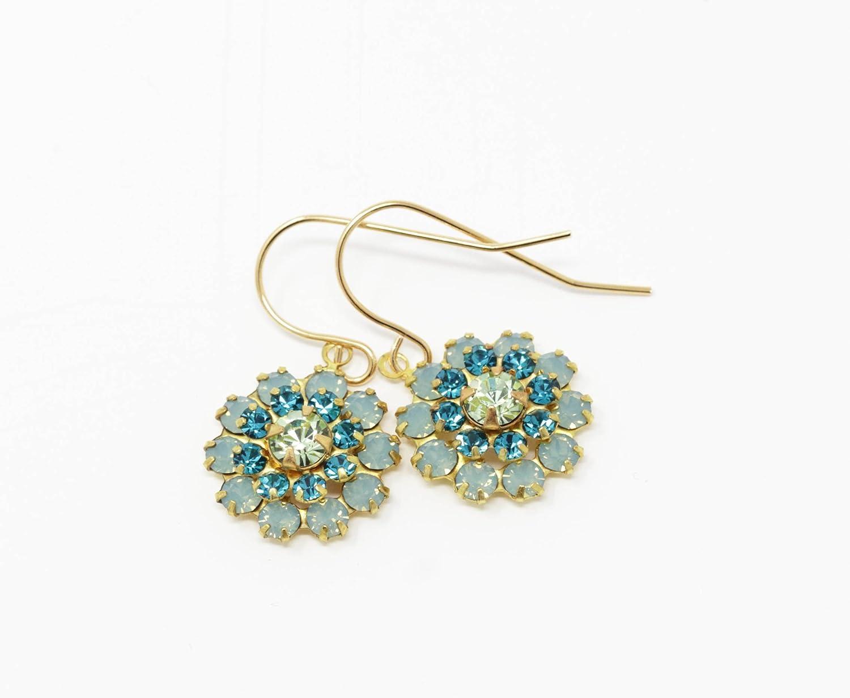 Vintage Swarovski Crystal Green and Blue Earrings