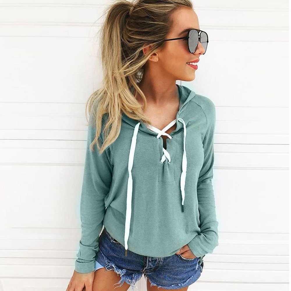 Amazon.com: Women Hoodie Sweatshirt, Joint Ladies Girls Lace Up Long Sleeve Crop Top Coat Sports Pullover Blouse Casual Tops (Large, Green)