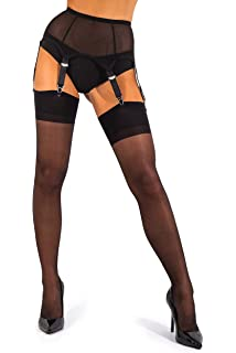 f77d9c20b60 sofsy Sheer Thigh High Stockings for Garter Belt Suspender Belt Plain