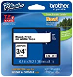 "Genuine Brother 3/4"" (18mm) Black on White TZe P-touch Tape for Brother PT-E300, PTE300 Label Maker with FREE TZe Tape Guide Included"