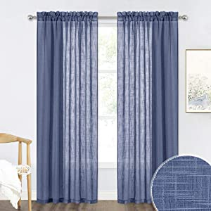 RYB HOME Sheer Curtains 84 inches Long - Linen Textured Semi Sheer Curtains Light Filtering Glare Airy Drapes for Living Room Bedroom Office French Door, Navy Blue, W 52 x L 84, 1 Pair