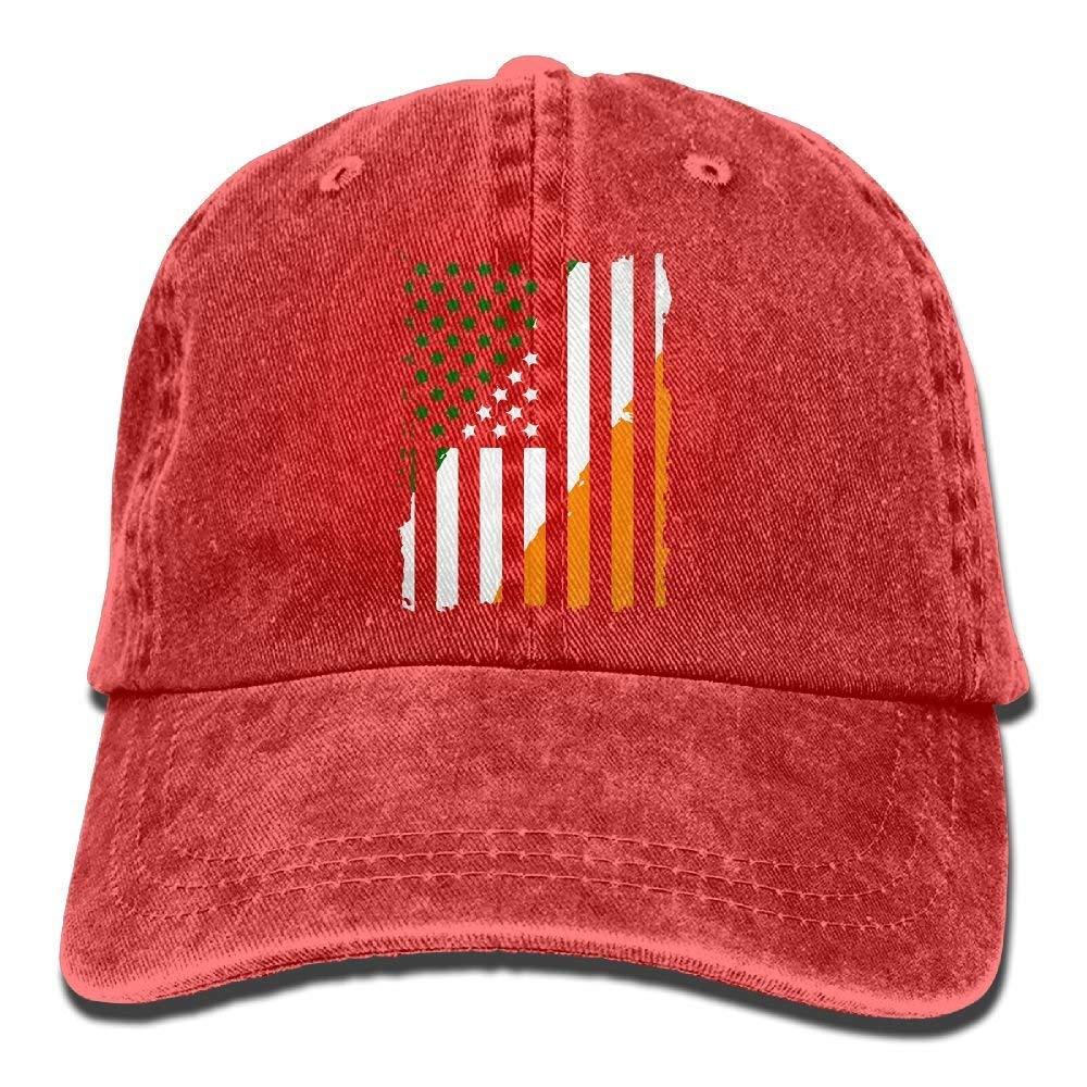 Amazon.com  Unisex Irish American Flag Vintage Denim Baseball Cap  Adjustable Plain Cap  Clothing abaf737e16ca
