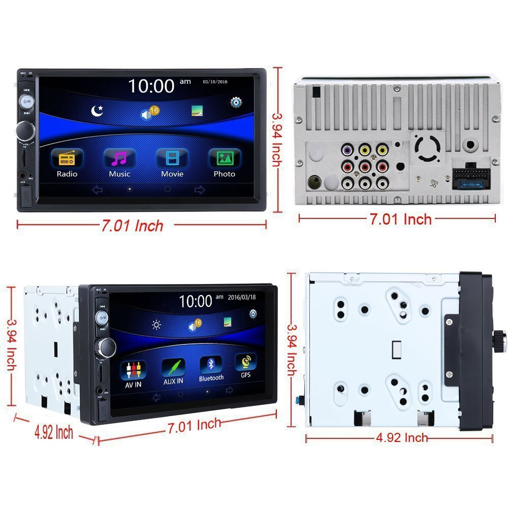 Regetek Double Din Car Radio Stereo 7 In Dash 1080p Touchscreen Wiring Diagram Audio Receiver Bluetooth Fm Am Mp3 Tf Usb Aux Support Steering Wheel Control