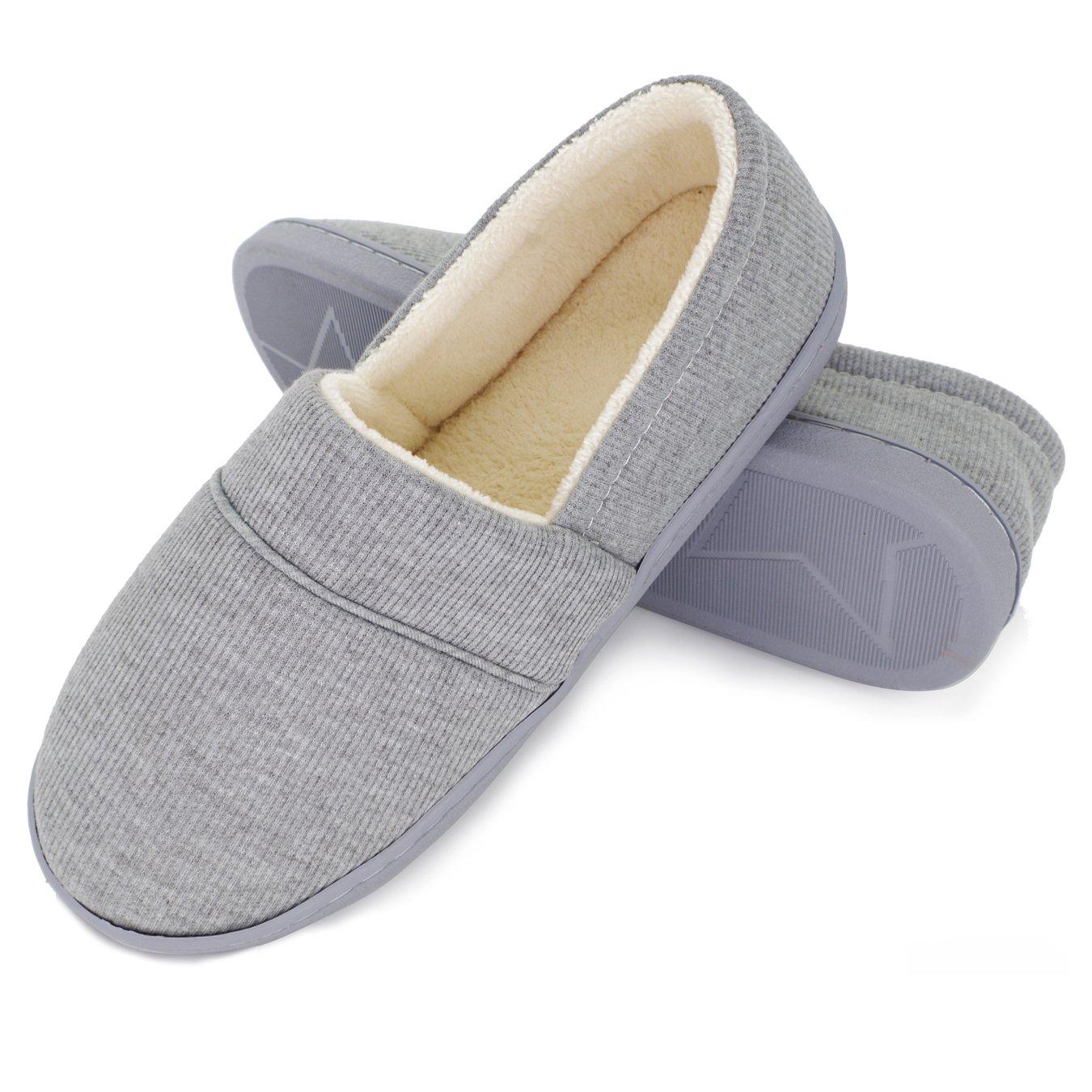 Moodeng Cotton Slippers for Women Knit Anti-Slip Lightweight Soft Comfort House Slippers Slip-on Velvety Home Shoes