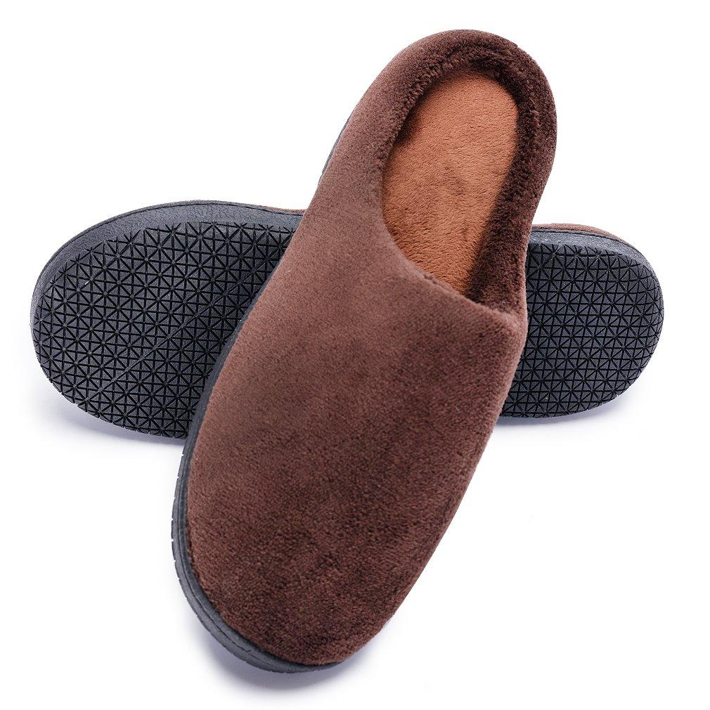 Men's Wool Plush Slippers | Fleece Lined House Slipper | Slip On Memory Foam Indoor/Outdoor Clog | Waterproof Anti Skid Rubber Sole (Size 11-12, Coffee)
