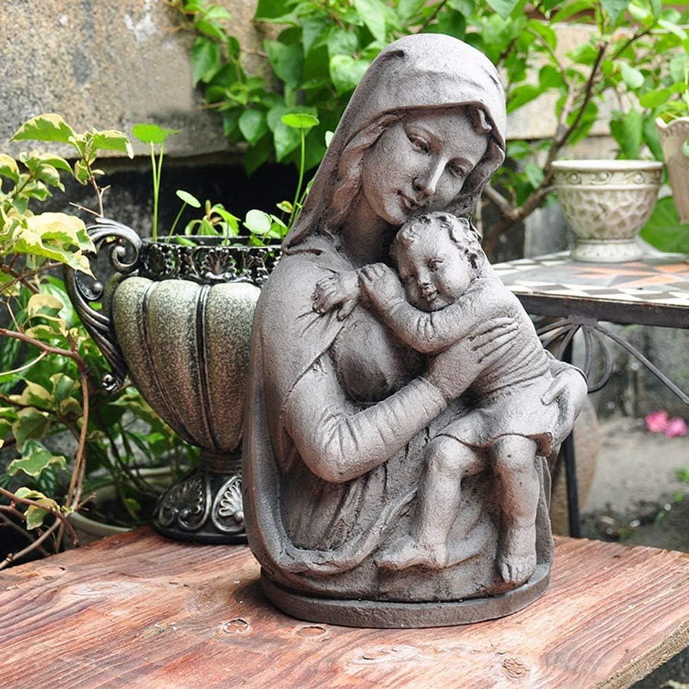 AFCITY-Garden Figurines para jardín, Rústico de la Vendimia óxido de magnesio imitación Cemento bebé decoración del jardín Católica Adornos de jardín Figurita para Jardines en Miniatura: Amazon.es: Hogar