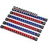 CASOMAN 6 Pieces 3/8' Drive Socket Organizer Rails, SAE And Metric Socket Holder Rail, Red & Blue Premium Quality Socket…