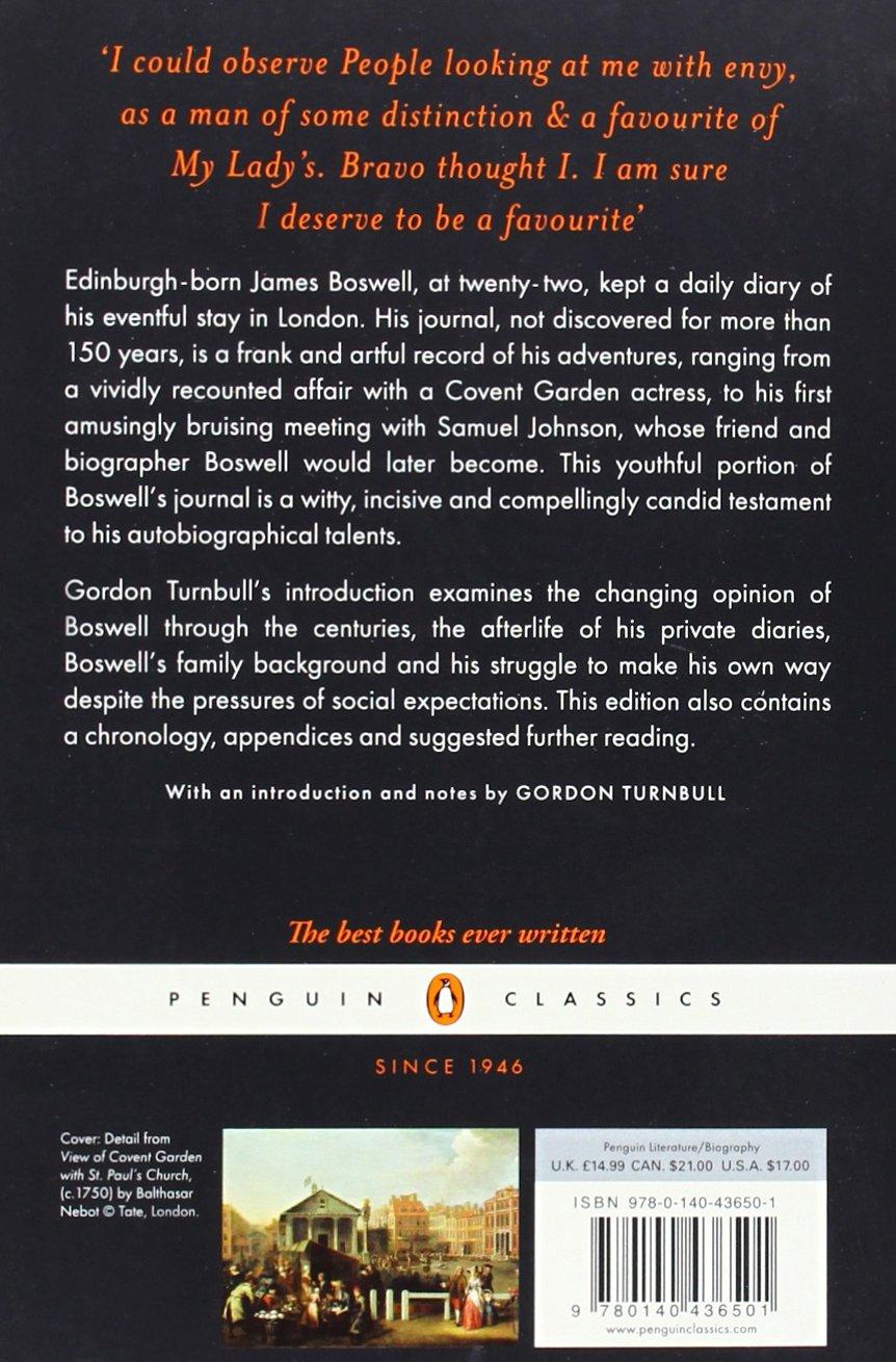 London Journal 1762-1763 (Penguin Classics): James Boswell, Gordon  Turnbull: 9780140436501: Amazon.com: Books