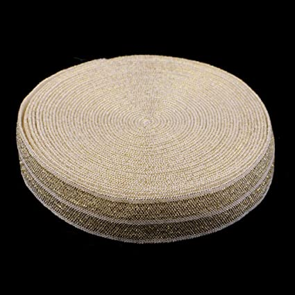 Sewing Glitter Fold Over Elastic Stretch Trim Elastic Ribbon P Prettyia 2 Roll 5 yards//each 1.5 cm Wide