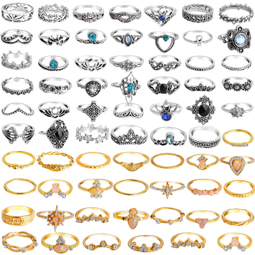 ONESING 69 Pcs Stackable Ring Knuckle Ring Set for Women Girls Bohemian Retro Vintage Joint Finger Rings Hollow Carved Flowers by ONESING