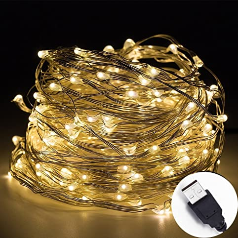 intetech10m 100 leds micro silver wire waterproof led string lights indoor outdoor starry string - Micro Christmas Lights