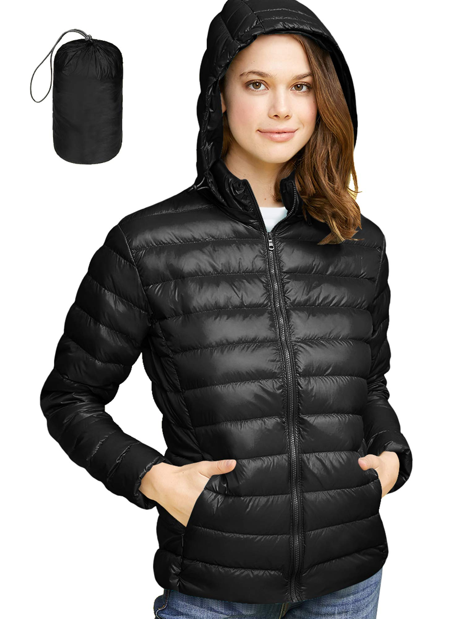 LL WJC2144 Women's Ultra Light Weight Packable Down Jacket with Removable Hoodie S Black by Lock and Love