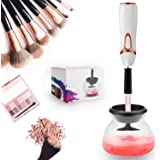 Mevolic Makeup Brush Cleaner and Dryer Machine, Completely Clean in Seconds and Dry in 360 Rotation with 8 Rubber Holders, Suit for All size Makeup Brushes