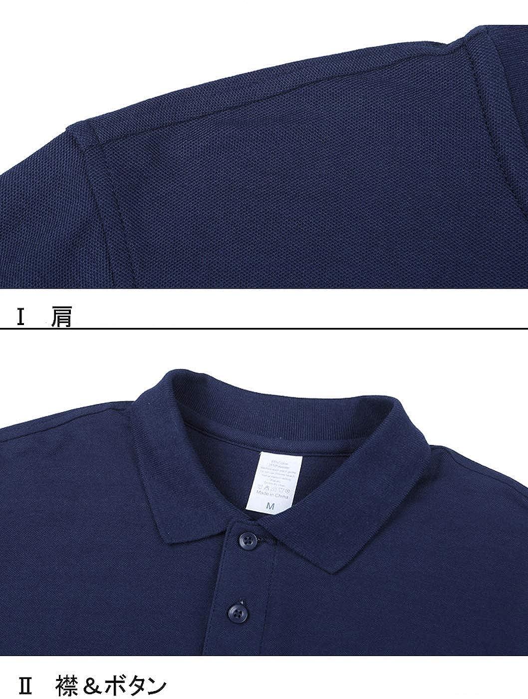 メンズ カジュアル ポロシャツ 無地 UVカット ゴルフウェア ビジネスシャツ スボーツ 半袖 夏服 吸汗速乾