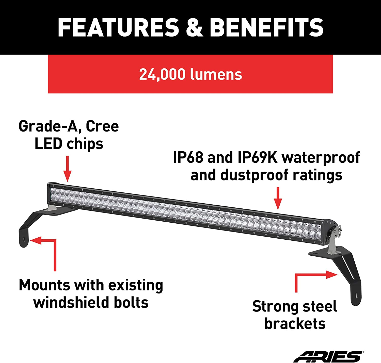 ARIES 1501306 50-Inch LED Light Bar for Jeep Wrangler JL Windshield Brackets Gladiator 24,000-Lumen Combo Beam