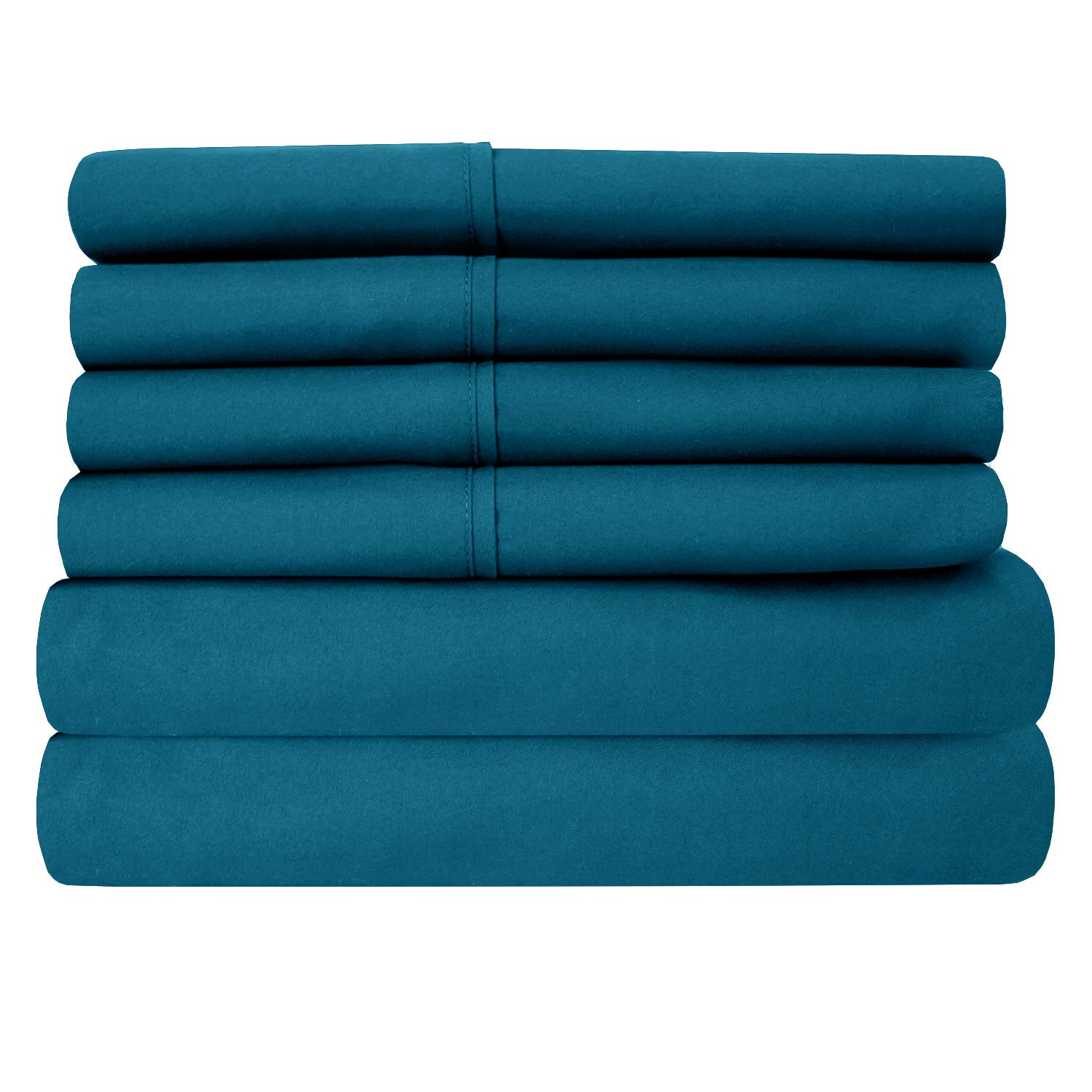 Cal King Size Bed Sheets - 6 Piece 1500 Thread Count Fine Brushed Microfiber Deep Pocket California King Sheet Set Bedding - 2 Extra Pillow Cases, Great Value, California King, Teal