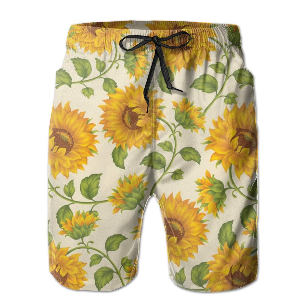 WMDJEG Sunflower Print Mens Summer Beachwear Sports Running Swim Board Shorts Mesh Lining