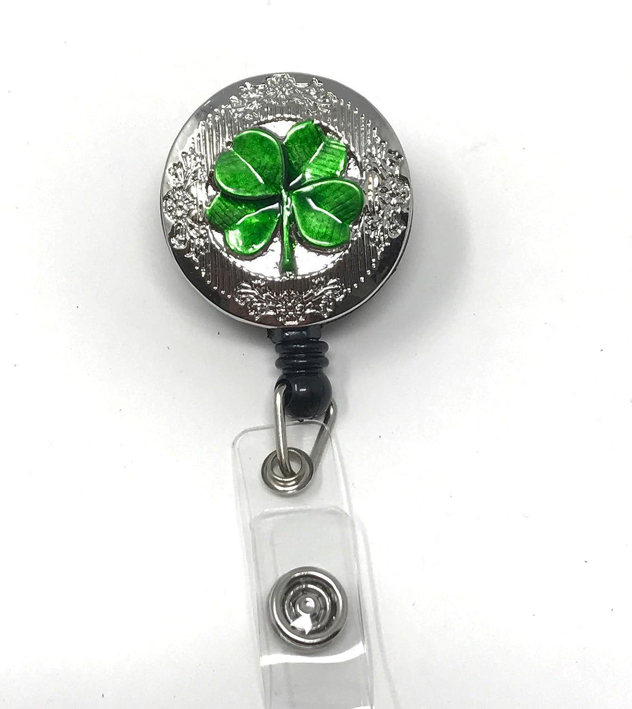 Lucky Clover Badge Reel Shamrock Badge Holder St Patricks Day Nurse Badge Reel