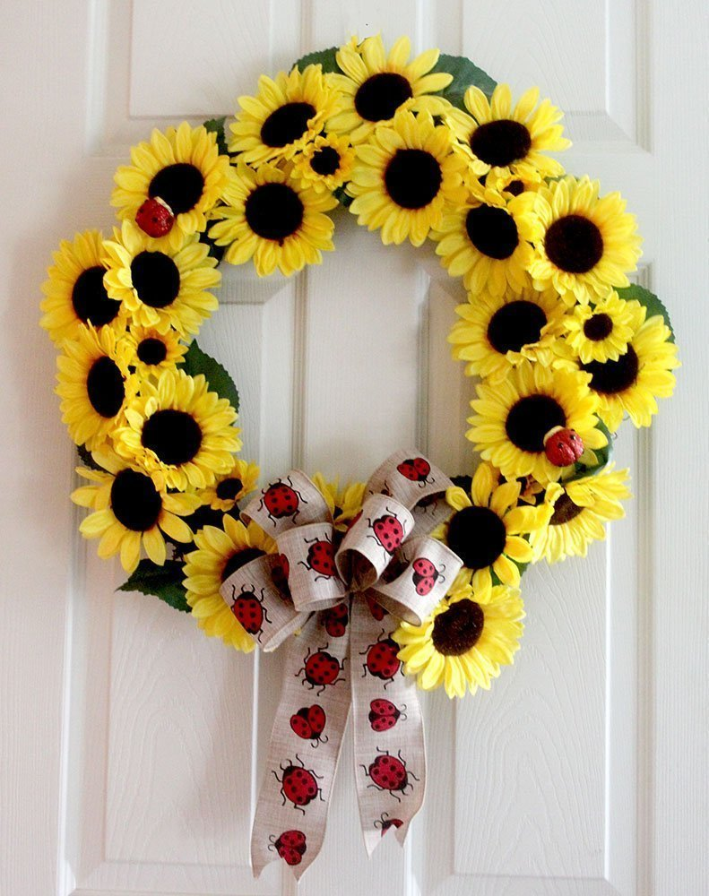 Amazon.com: Large Summer sunflower ladybug wreath for front door, 22 ...