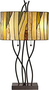 Traditional Table Lamp Bronze Oak Vine Tiffany Style Stained Art Glass Shade for Living Room Bedroom Bedside Nightstand Office - Robert Louis Tiffany