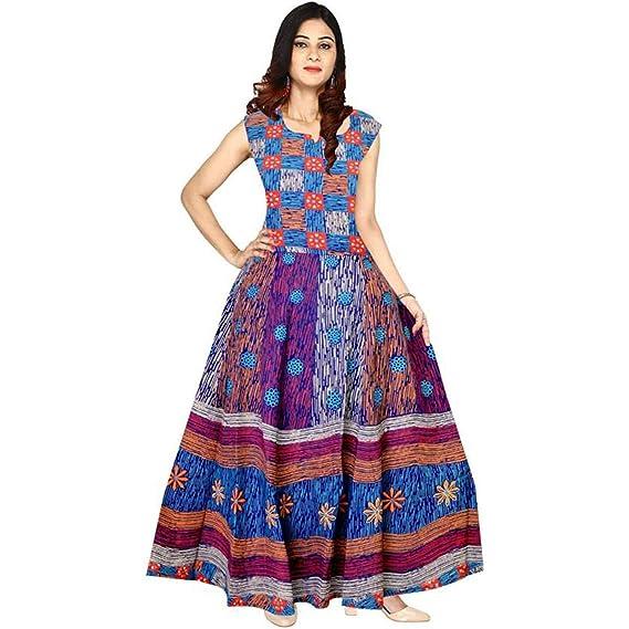 44f84df90a4 New Radhika Enterprises Women s Cotton Maxi Jaipuri Printed Dress Free  Size  Amazon.in  Clothing   Accessories