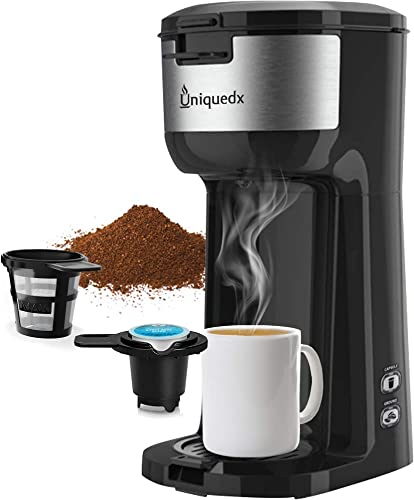 Single Serve Coffee Maker, Dual for KCup Pod Ground Coffee Brewer, Instant Coffee Machine with Brew Strenght Control and Self Cleaning Function, Compact Style Thermal Drip Coffee Maker by Uniquedx