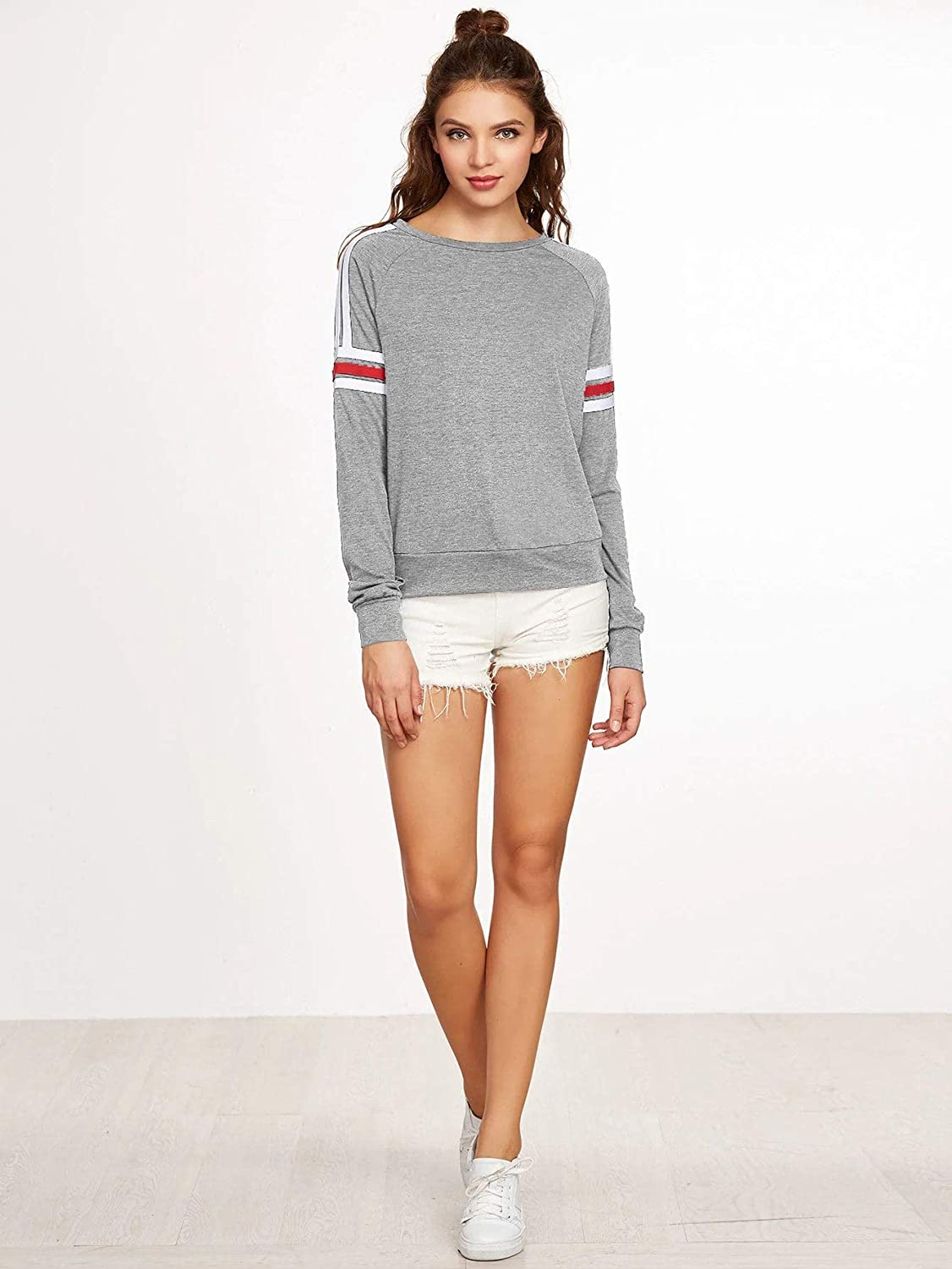 Romwe Womens Heather Varsity Stripe Raglan Sleeve Pullover Sweatshirt Grey XS