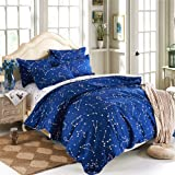 EsyDream Home Bedding,Blue Color constellation 4PC Duvet Cover Sets,Space Style Kids Bedding Sets,Cotton & microfiber (No Comforter),Queen/Full Size (4pc Set)