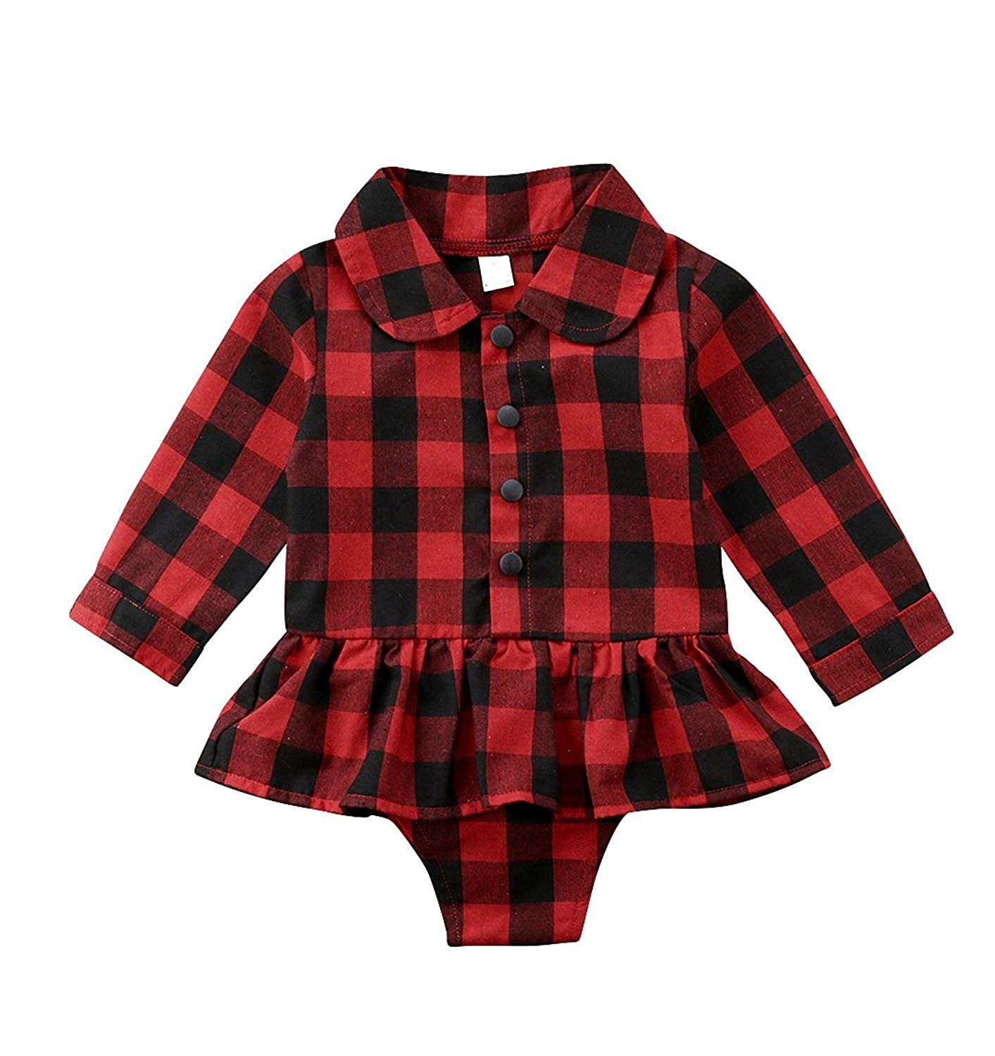 BELS Toddler Baby Girls Red Plaids Long Sleeve Shirt Collar Ruffles Princess Dress Romper