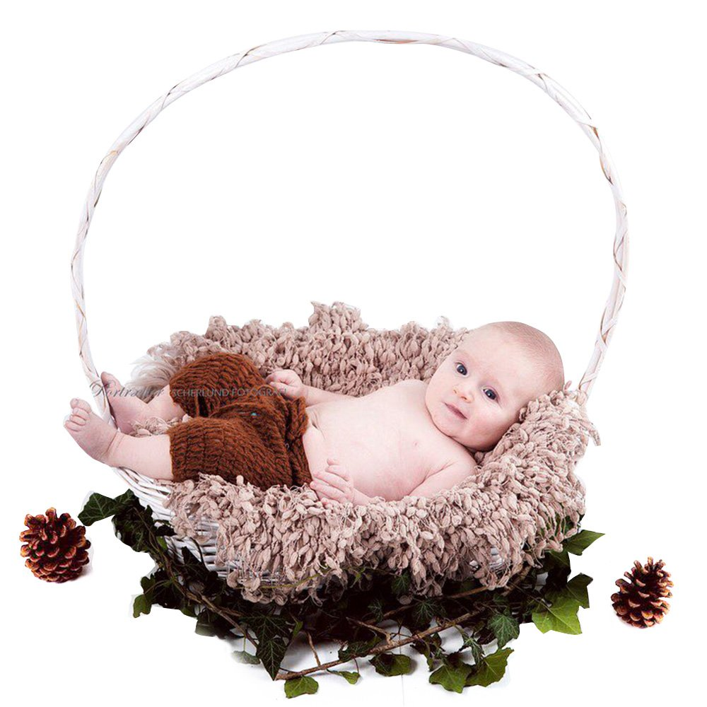 D& J DON& JUDY Baby Photography Props Newborn, Hand Crochet Round Blanket with Fringe DJC000103