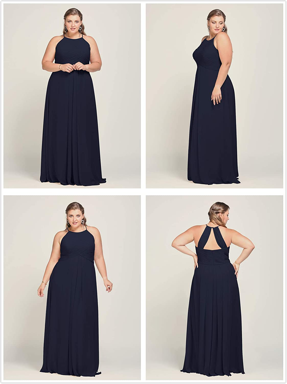 Alicepub Long Chiffon Bridesmaid Dress Maxi Evening Gown A Line Plus Party Dress Dark Navy