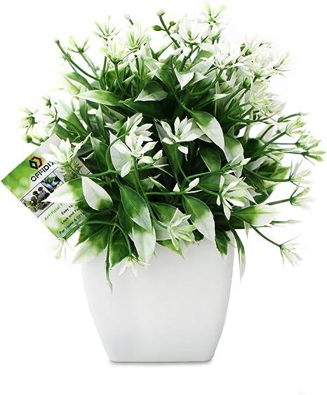 Amazon De Offidix Kunstliche Mini Kunstblumen Mit Weissen Quadratischen Kunststofftopfen