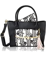 Betsey Johnson Metal Bow Flap Tote Bag with Wristlet