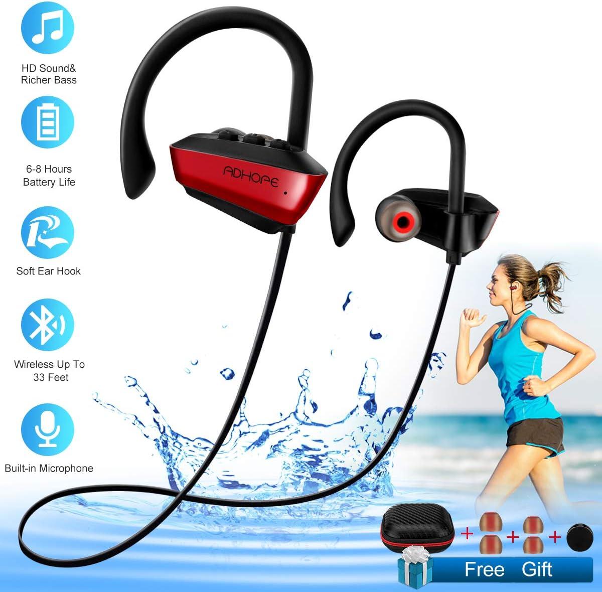 Wireless Earphones Sport Waterproof Bluetooth Headphones with Mic for Running In-Ear Wireless Sport Earbuds 8 Hour Playtime Bass Stereo Sweatproof Headphones for Workout Gym Men Women