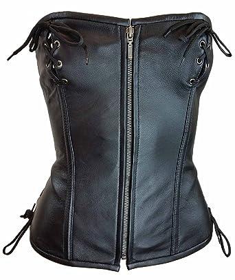 a0c1fb9978b Women s Soft Lamb Leather Front Zipper Sexy LINGERINE Corset Front   Back  Laces(M)