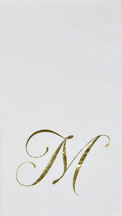 100 Gold Monogram Guest Napkins Letter M Disposable Paper Pack Elegant Metallic Golden Foil Dinner Hand Napkin for Bathroom Powder Room Wedding Holiday Birthday Party Baby Shower Decorative Towels