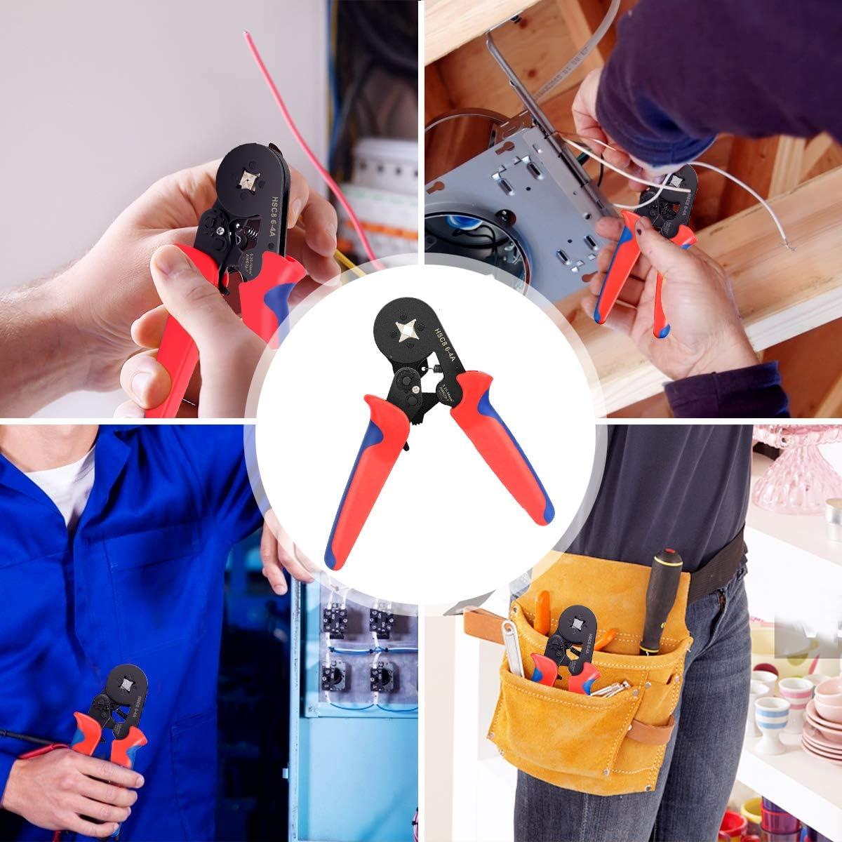 Juego de herramientas de engarce AWG23-7 Kit de engarzadora de alambre 0.25-10mm/² Alicates de engarzadora de alambre de trinquete autoajustables con conectores de engarce de terminal de alambre 1200