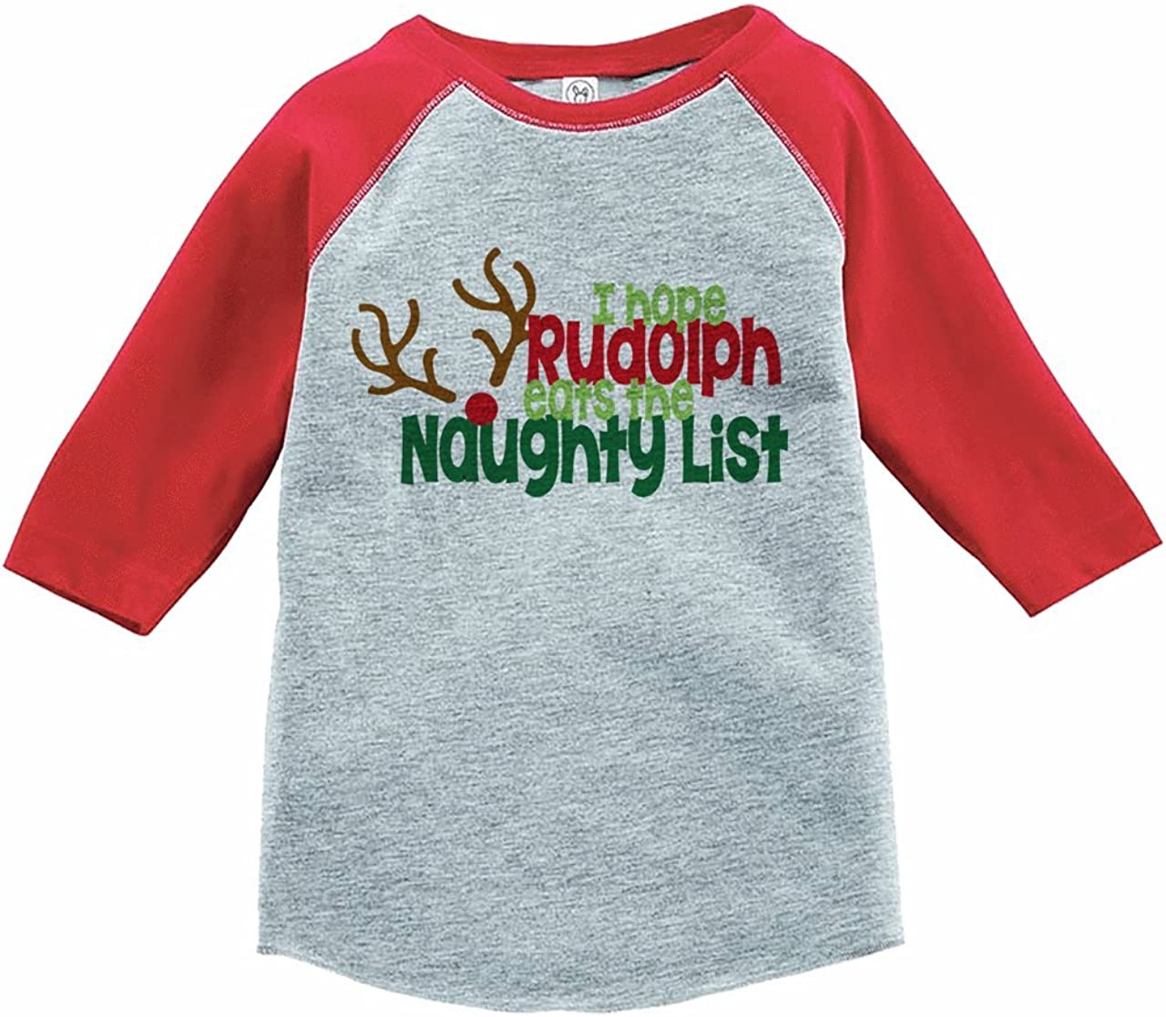7 ate 9 Apparel Kids Funny Naughty List Christmas Red Raglan Tee