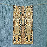 SeptSonne lightweight towel Rustic Thai Gate at Wat Sirisa Tong Thailand Buddhism History Spiritual Gen Teal for Home, Hotel and Spa W35.4 x H11.8 INCH