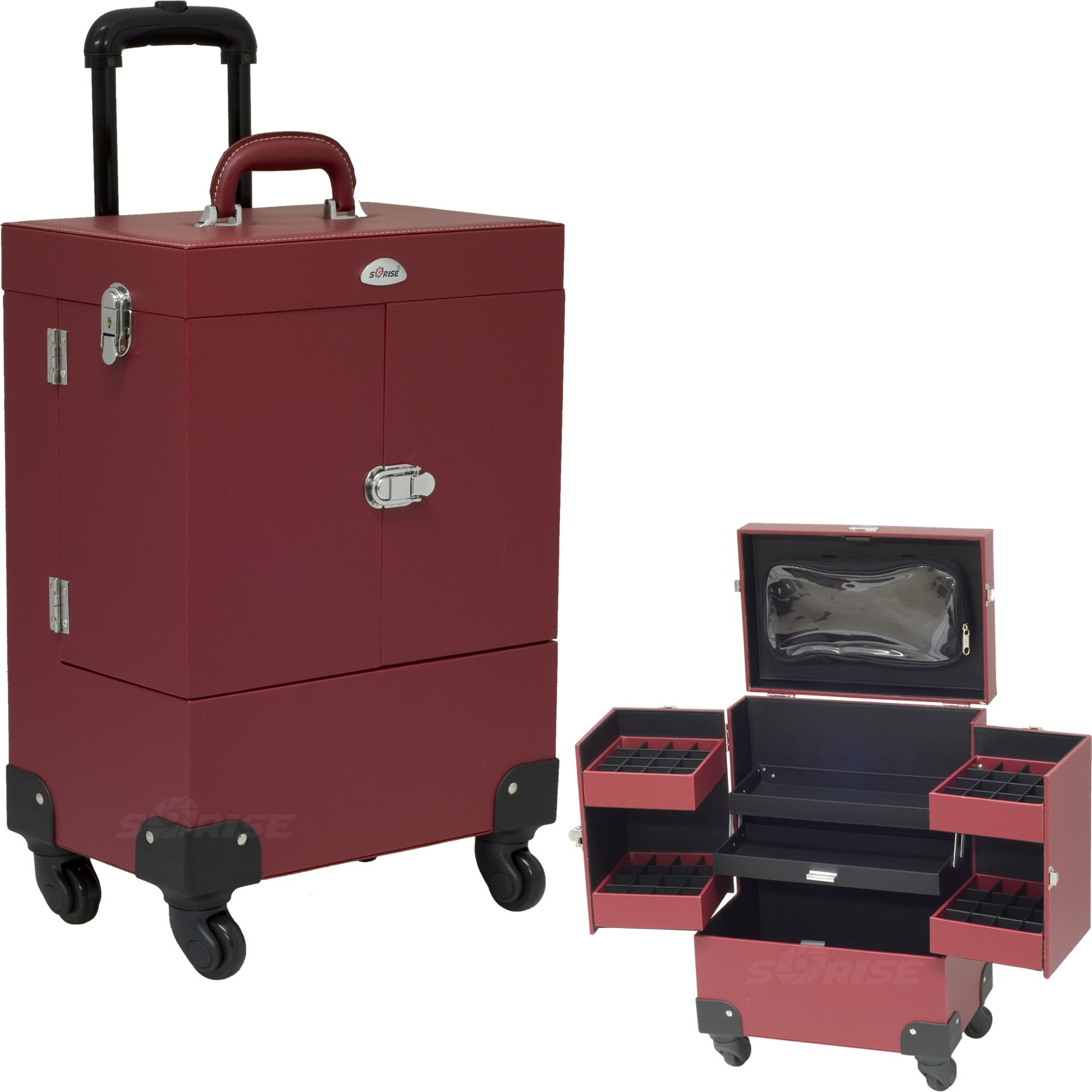 Red Leather Like Nail Polish Tools Rolling Storage Case Trolley