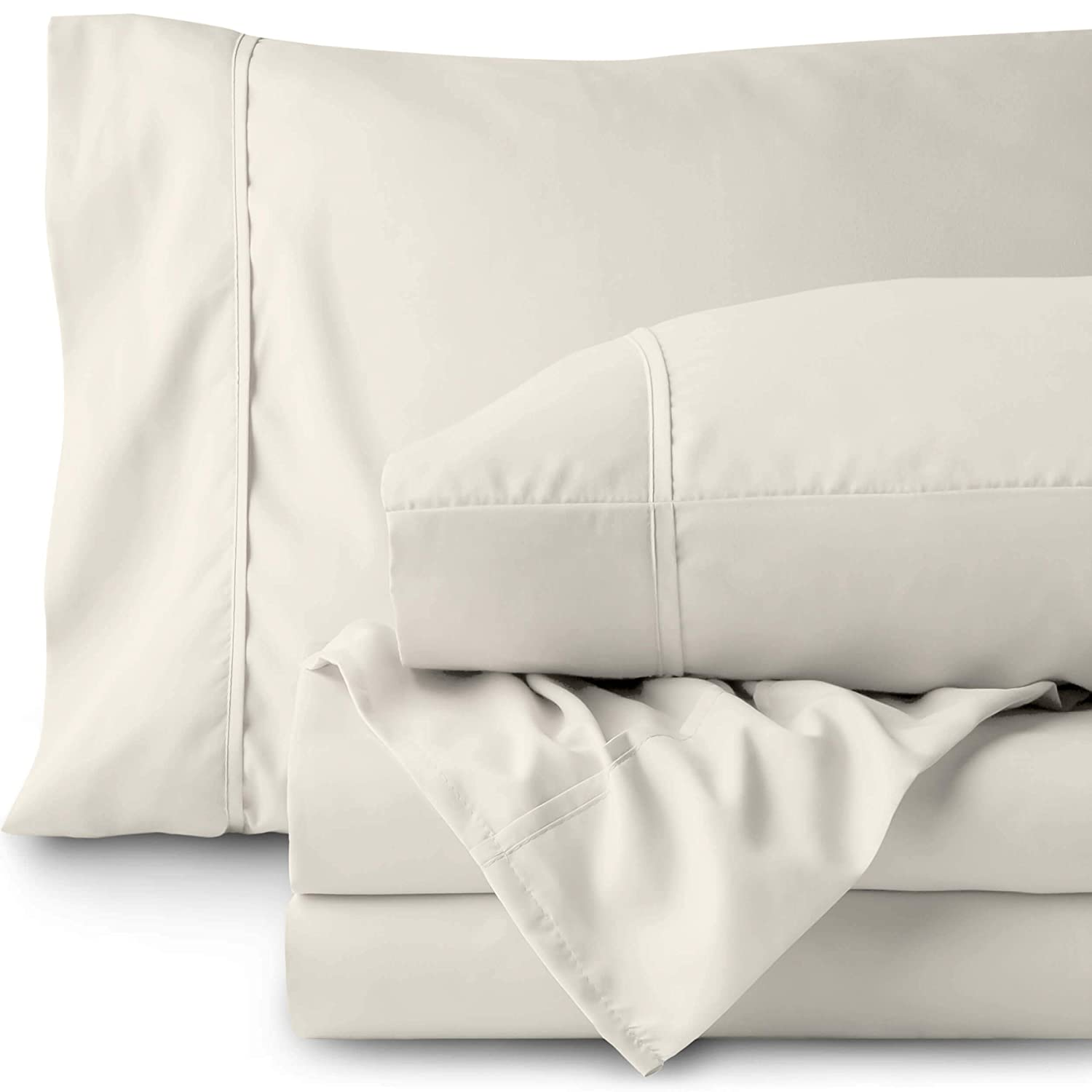 Bare Home Queen Sheet Set - 1800 Ultra-Soft Microfiber Bed Sheets - Double Brushed Breathable Bedding - Hypoallergenic – Wrinkle Resistant - Deep Pocket (Queen, Ivory)