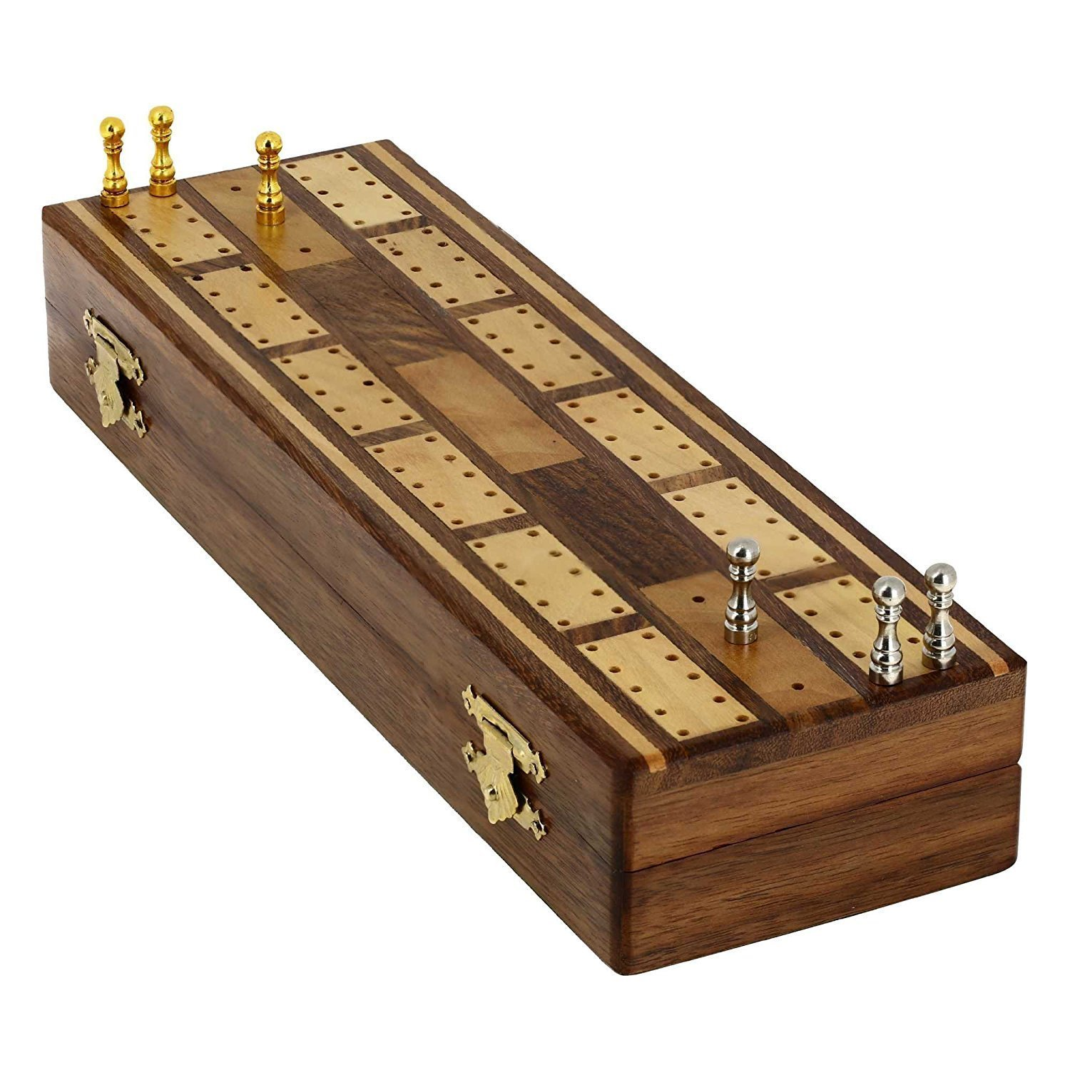 KITCHEN SUPPLIER Game Cribbage Boards Set, 2 Decks Of Cards, 6 Metal Pegs With Storage - Handmade with Premium Steam Beach Wood by Indian Artisans -Brought to you by