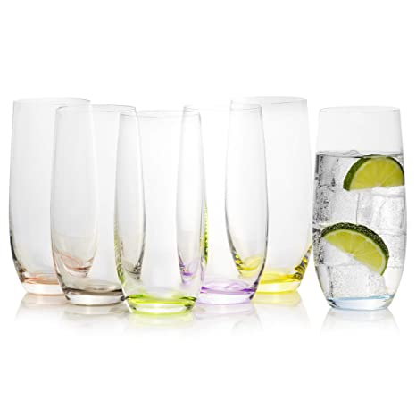 aed4e58abf55 Tall Multi Colored Highball Drinking Glasses Set of 6 - Rainbow Collection  By Crystalex, Colorful