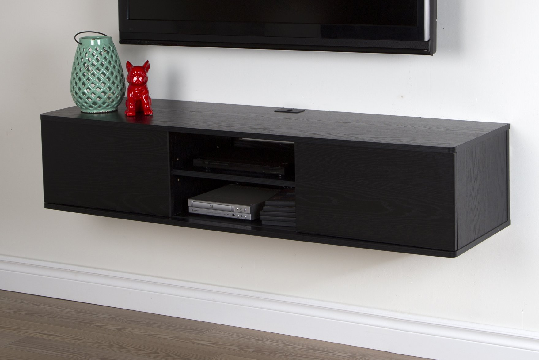 South Shore Agora Wall Mounted Media Console, 56'', Black Oak