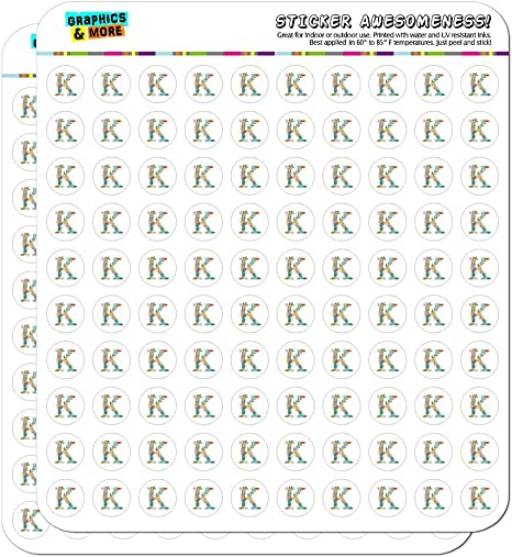 Letter K Floral Monogram Initial Planner Calendar Scrapbooking Crafting Stickers