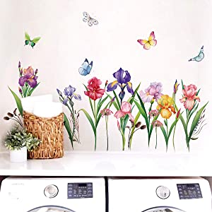 decalmile Garden Flower Wall Decals Narcissus Iris Floral Butterfly Wall Art Stickers Bedroom Living Room TV Wall Home Decor