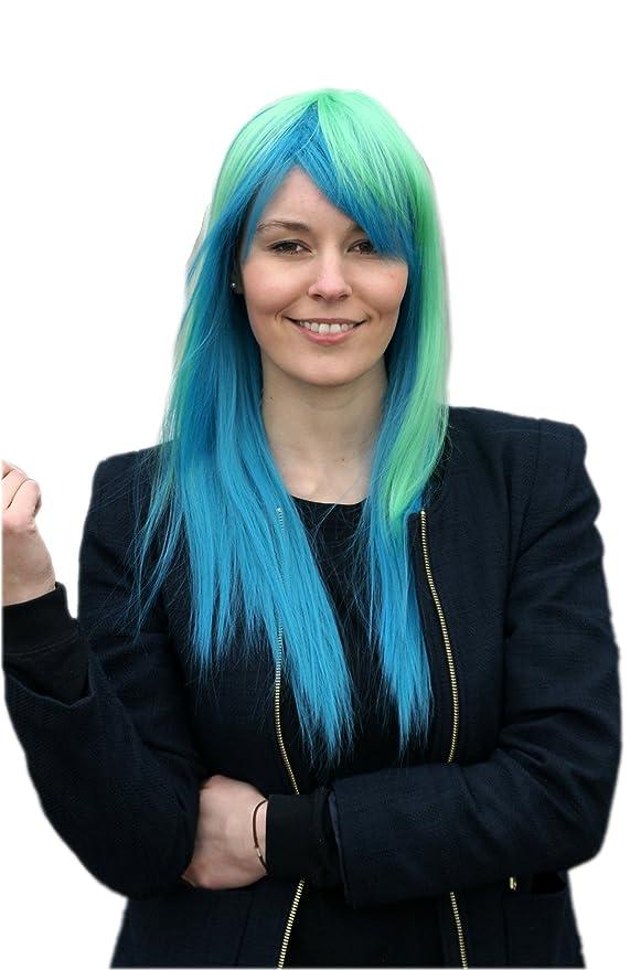 Prettyland Peluca - 65 cm de largo peluca azul y verde de ...