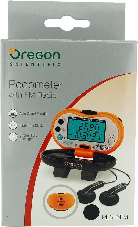 NERO PEDOMETRO PE316FM OREGON SCIENTIFIC Contapassi c//orologio e radio FM