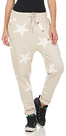 Malito Damen Jogginghose mit Knopfleiste   Sporthose mit Sternen   Baggy  zum Tanzen   Sweatpants - 217d273a9e