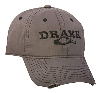 3db6135705e Amazon.com  Drake Waterfowl Solid Distressed Cap - Gray  Sports   Outdoors